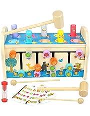 jerryvon Juegos Montessori Banco de Martillo Juguetes Madera con Xilófono & Laberinto 3 en 1 Martilleo de León Educativos Juguete Regalo para Niños Niñas 3 4 5 Años
