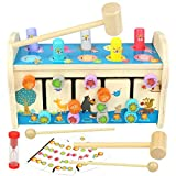 jerryvon Giochi Montessori Martello Giocattolo in Legno con Xilofono & Labirinto 3 in 1 Leone Banco da Martellare Bambini Educativi Giocattoli Regalo per 3 4 5 Anni Ragazzi Ragazze
