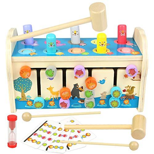 jerryvon Hammerspiel Klopfbank Holz Kinderspielzeug 3 in 1 Hämmerchenspiel mit Xylophon & Labyrinth Lernspielzeug Vorschul Montessori Spielzeug Pädagogische Spiel Geschenk für Kinder ab 3 4 5 Jahre
