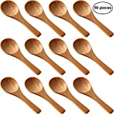 50 Pieces Small Wooden Spoons Mini Nature Spoons Wood Honey Teaspoon Cooking Condiments Spoons for Kitchen Seasoning Oil Coffee Tea Sugar (Light Brown)