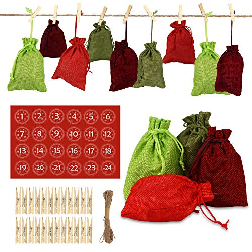 Zorara 24 Adventskalender om te vullen – stoffen zakje, 1-24 adventsgetallen sticker, kerstcadeauzakje, adventskalender 2019, kerstkalender knutselset, knutselen, vulling voor mannen en kinderen