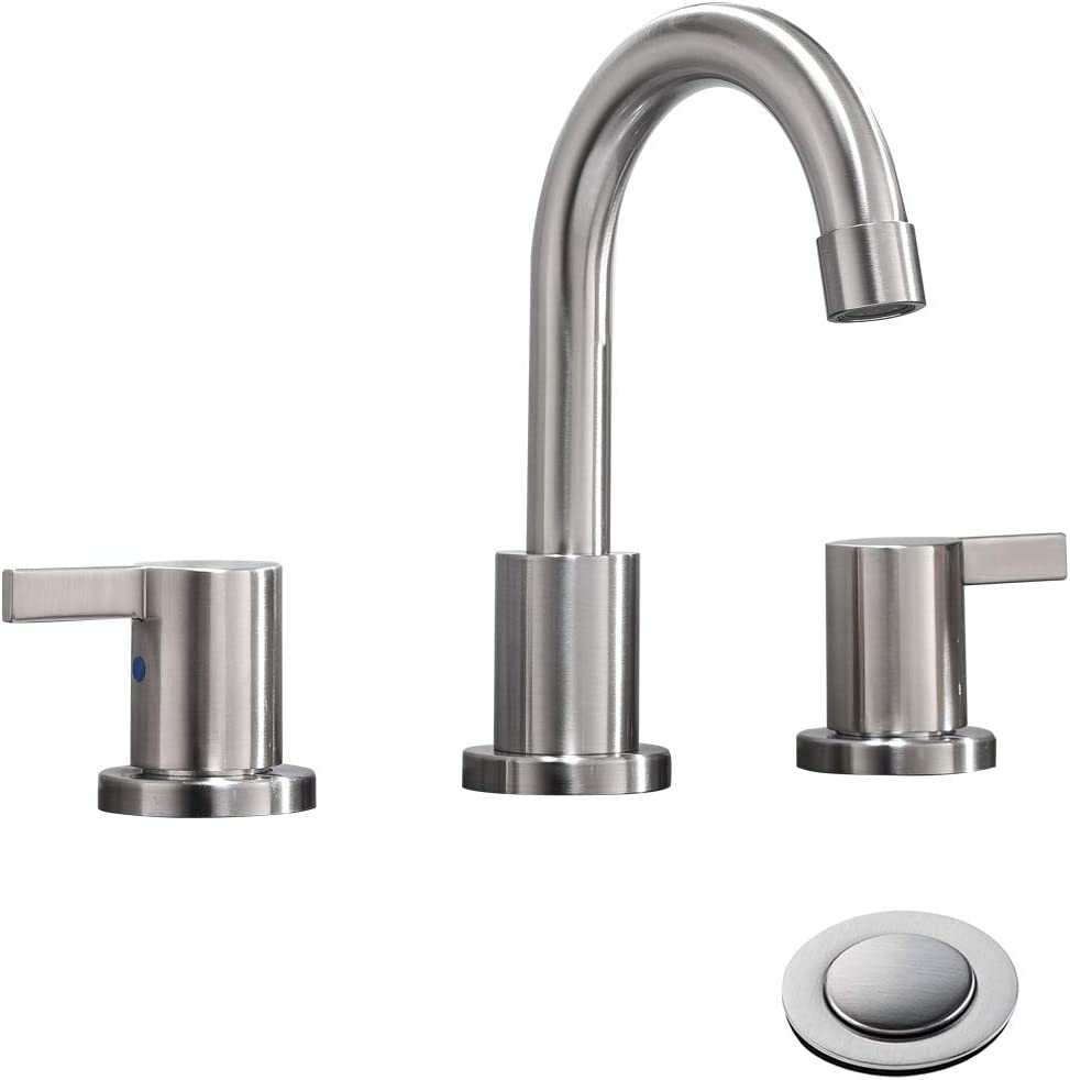 2 handle 3 hole 8 inch widespread bathroom faucet with metal pop up drain by phiestina brushed nickel wf015 1 bn