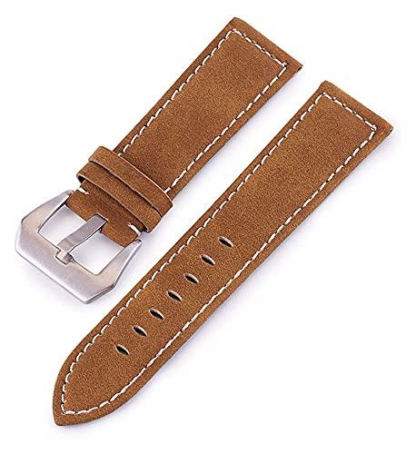 Lzpzz Correas de reloj de cuero de 18 mm, 20 mm, 22 mm, 24 mm, correa de piel, accesorios para hombres y mujeres (color 18 mm, tamaño: amarillo marrón)