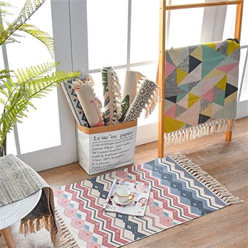 Alfombra de algodón, lavable, estampada, vintage, alfombra de algodón con borlas, para dormitorio, salón, cocina, lavandería, 60 x 90 cm (onda roja)