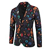 Chaqueta de Traje para Hombre, Nuevo Carnaval Americana Estampada Fiesta Americanas Hombre Vestir Blazer Casual Disfraz de Danza Partido Actuación Yvelands(Negro,L)