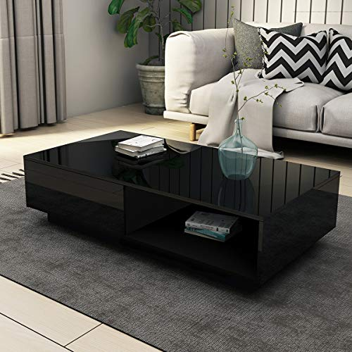 UNDRANDED Universal Coffee Table with 1 Storage Drawer & Shelf ALL High Gloss Modern Sofa Table Rectangle Living Room Furniture 95x55x31cm (Black)