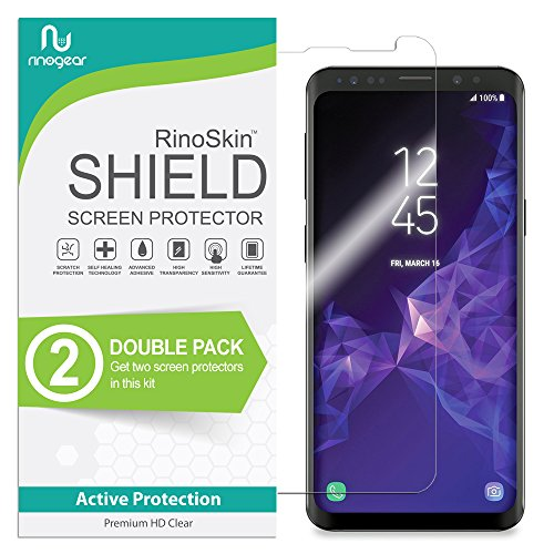 (2-Pack) RinoGear Screen Protector for Samsung Galaxy S9 Case Friendly Samsung Galaxy S9 Screen Protector Accessory Full Coverage Clear Film