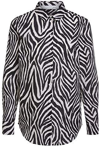 Oui Bluse mit Zebramuster Gr. 36, schwarz / weiß