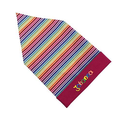 Kopftuch Pink gestreift pink mit Namen Größe S oder M Sonnenschutz Babymütze Kinderkopftuch für Mädchen Babys Kleinkinder Mädchenkopftuch