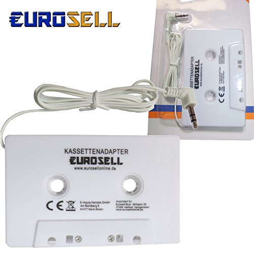 Eurosell Adapterkassette Kassette Adapter Kassettenadapter weiss für Auto KFZ Radio Autoradio 3,5 mm Klinkenstecker Smartphone iPhone Tablet Mp3 iPod Apple iPhone 3 4 5 6 6s Plus 7 8 8s x iPad