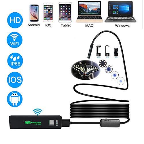 RSGK Endoscopio WiFi De 8 Mm, Cámara 1600 * 1200 HD con Cámara Flexible De Serpiente con Luz LED Ajustable para iPhone Android