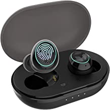 Bluetooth 5.0 Deep Bass True Wireless Earbuds Built-in Microphone, TRANYA B530 Touch Control Sports Wireless Headphones, 6-8 Hours Continuous Playtime, 60 Hours Total Playtime with Charging Case