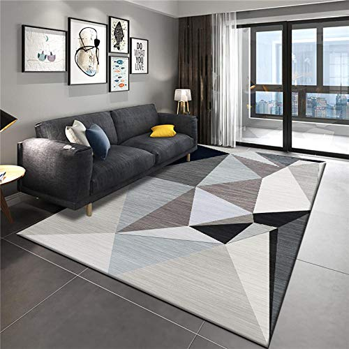 alfombras Modernas Grandes Alfombra Interior Y Exterior fácil Mantenimiento Ideal para salón, Cocina, baño Geometría de diamante tridimensional de color negro hueso 180x260cm (5.9ft x 8.5ft)