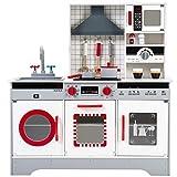 Gogogo Kinderküche Spielküche Holz Kinderspielzeug Topf Pfanne Küchenbesteck Kaffeetasse Gewurzglässe ab 3 Jahren 82x26,5x90cm, rot und grau