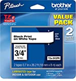 Brother Genuine, TZe2412PK, 2 Pack of Label Tape, Black Font On White Label, TZe241,Black on White