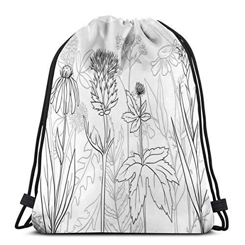 XCNGG Bolsos con cordón Bolsa de deporte para gimnasia Viaje, botánico y patrón de hierbas como silueta Estampado de flores silvestres