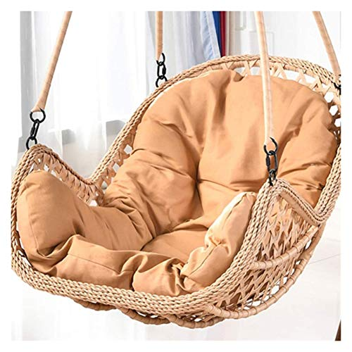 DYYD Egg Chair Cushion Egg Nest Swing Chair Cushion for Outside Thicken Hanging Egg Hammock Chair Cushion Wicker Rattan Hanging Basket Seat Cushion (Color : Yellow)