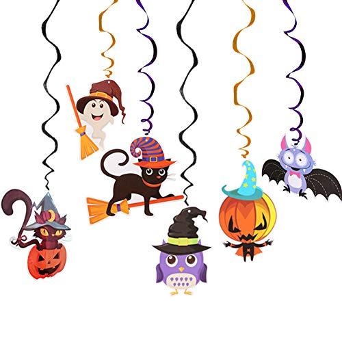 6 PC Mezcladas De Halloween Que Cuelga Del Remolino Decoración Del Partido, Colgante Colgante De La Historieta Espirales Colores Torbellinos De Halloween Espiral Colgante Del Partido
