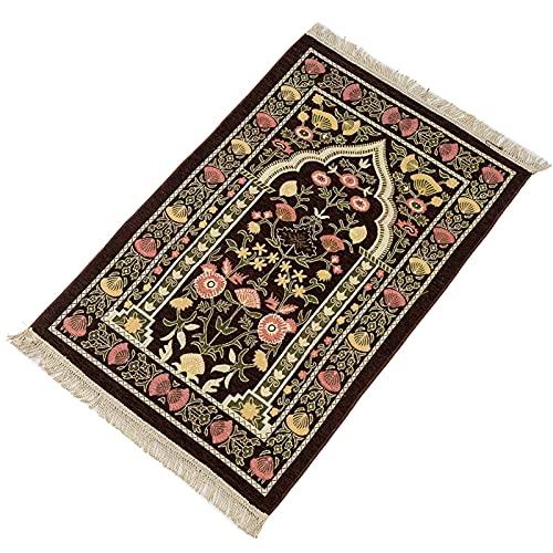 POHOVE Alfombra de oración musulmana – Alfombrilla de oración musulmana para hombres Islam, alfombra para mujeres – Sajadah – Diseño turco portátil para oración (marrón)