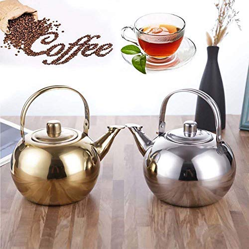 Xinzi - Hervidor de té extraíble con colador para estufa de té, tetera, hervidor de agua de acero inoxidable (16 cm), color dorado