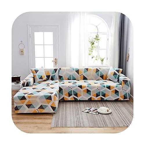 Sofa-Bezug, elastisch, bedruckt, gewellt, Ecken, für Wohnzimmer, Hotel, Sofa, Schutz, Geometric-3 Seater