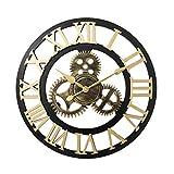 XQK Orologio da Parete Vintage 3D Orologi da Parete con Numeri Romani silenziosi, Orologio da Scheletro in Metallo retrò Europeo Stile Industriale