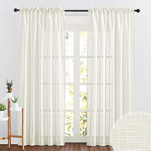 RYB HOME Linen Textured Sheer Curtains 84 inches Long, Privacy Semi-Transparent Sheer Window Curtains for Living Room Bathroom French Door, Natural, W 70 x L 84 inch, 1 Pair