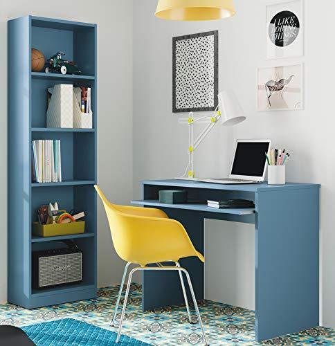 Miroytengo Pack Estudio I-Joy habitación Juvenil Infantil Dormitorio Color Azul Moderno (Escritorio + estantería)