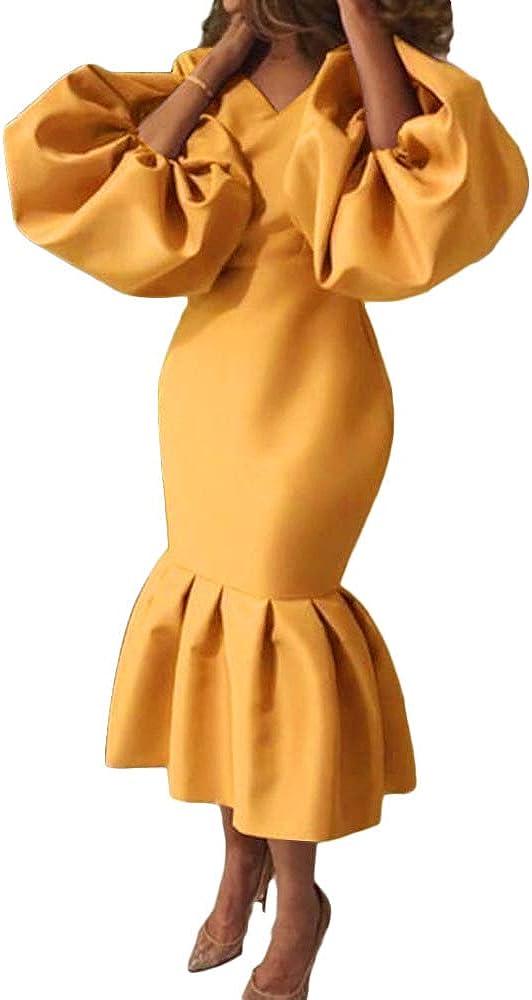 AOMEI Women's V Neck 期間限定 Puff Sleeve Peplum 新着セール Mermaid Dre Long Bodycon