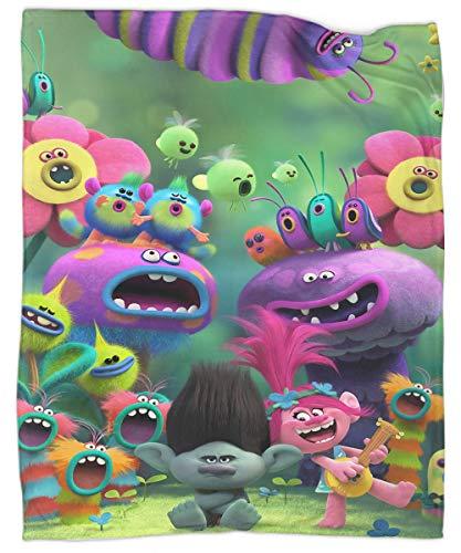 MRFSY Manta de felpa suave y cálida con póster de Trolls World Tour para todas las estaciones 50 x 70 pulgadas