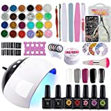 Coscelia Kit Vernis Semi Permanent 24 W Lampe LED UV Nail Art Pour Ongle Vernis Soak Off Topcoat...