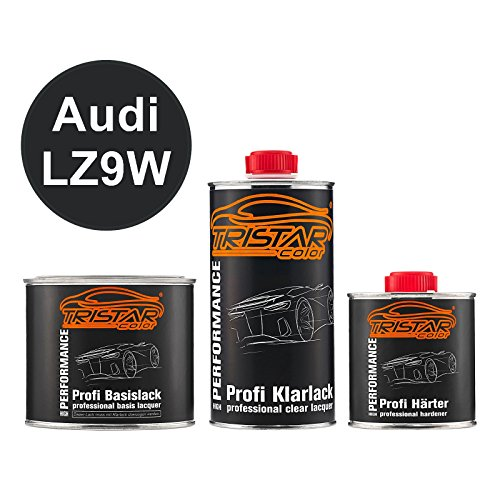 TRISTARcolor Autolack Set Dose spritzfertig für Audi LZ9W Ebonyschwarz Perl Basislack + 2K Klarlack 1,25L