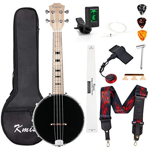 Banjo Ukulele Concert Size 23 Inch With Bag Tuner Strap Strings Pickup Picks Ruler Wrench Bridge (Black)