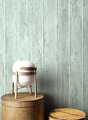 NEWROOM Holztapete Tapete Türkis Holzbalken Holz Landhaus Vliestapete Vlies Holztapete Holzwand Naturholz Holzpaneele Vintage inkl. Tapezier Ratgeber