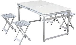 アルミ製 軽量 折りたたみ アウトドア キャンプ BBQ テーブル1個&椅子4個セット テーブル チェア セット