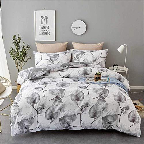 Double Duvet Set, Nordic Style Black White Tree Leaf Bedding Set Home Textiles Quilt Cover And Pillowcase Bedclothes