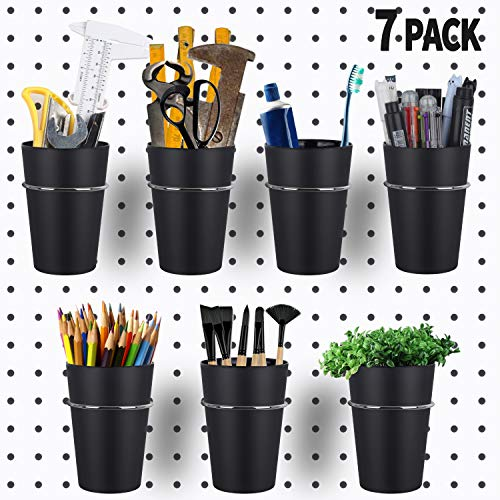 7 Sets Pegboard Bins with Rings, Ring Style Pegboard Hooks with Pegboard Cups, Pegboard Cup Holder Accessories for Organizing Storage (Black)