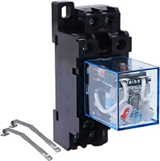 Taiss / HH62P JQX-13F AC 24V Coil 8Pin DPDT 2 NO 2 NC Electromagnetic Power Relay 10A with Exquisite and upscale Socket Base (Warranty 1 Years) Ly2j AC24V