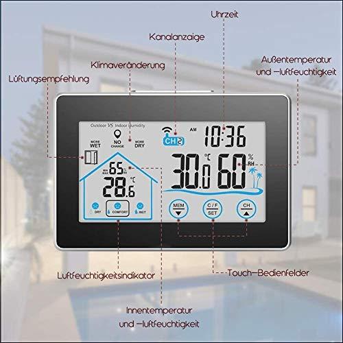 TINE De Radio inalámbrica de la estación meteorológica con el Sensor Digital al Aire Libre termómetro higrómetro for Interiores y Exteriores, luz de Fondo Blanca y visualizar el Tiempo-Negro aycpg