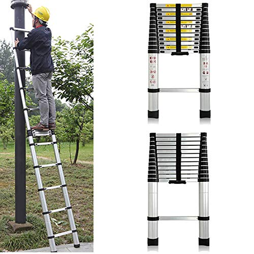 Aluminum Telescopic Ladder 12.5ft Extension Multi-Purpose Portable Loft Step Ladder with Non-Slip Rubber Feet 330lb Capacity for Indoor Outdoor Activities, EN131 Certificated