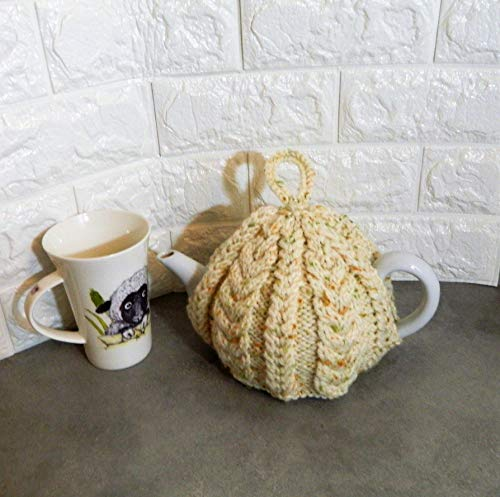 Cream Cable, Hand Knitted, Tea Cosy, Handmade Teacosie, fits a 2-4