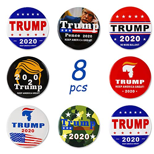 Trump 2020 Buttons, Donald Trump Election Button Keep America Great Trump 2020 Presidential Election Campaign Buttons 8 Pack