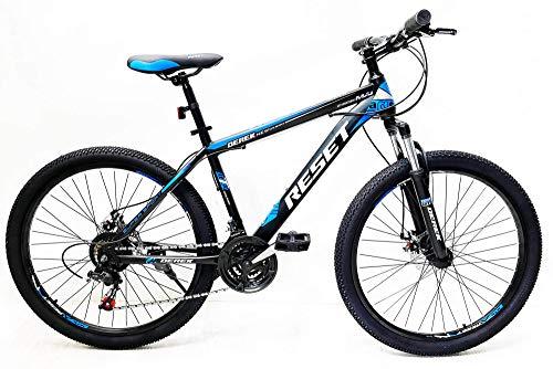 Reset Bicicletta Mountain Bike MTB Ragazzo 27.5' 21V Front Suspension Nero e Blu