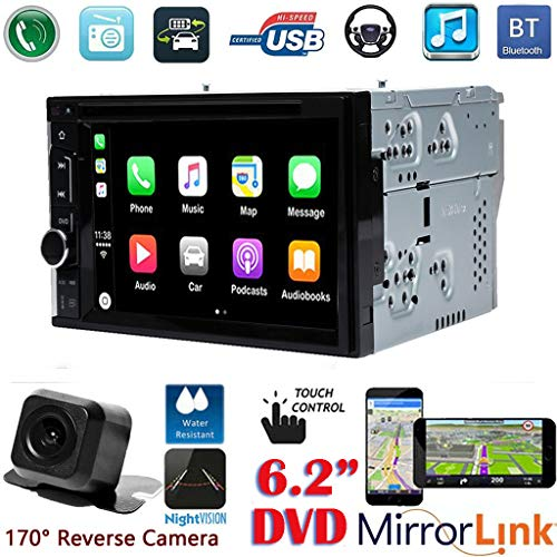 Double Din Car Stereo 6.2Inch DVD Player for Hummer H1 H2 03-07 HD Touch Screen Bluetooth Hands-free Steering Wheel Control AM/FM Mirror Link for GPS, with Backup Camera