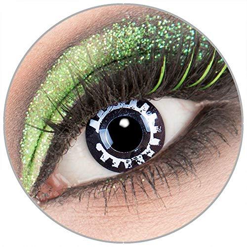 Farbige schwarze weiße 'Steam Punk' Kontaktlinsen ohne Stärke 1 Paar Crazy Fun Kontaktlinsen mit Kombilösung (60ml) + Behälter zu Fasching Karneval Halloween - Topqualität von 'Giftauge'