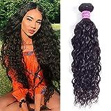 Water Wave Bundles 22 Inch 10A Wet And Wavy Bundles 100% Unprocessed Brazilian Virgin Curly Human Hair Bundles Ocean Wave Human Hair Weave Bundles for Women Natural Black 100g/Bundle