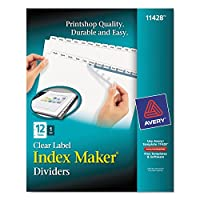 Avery 11428インデックスメーカー印刷&適用クリアラベルディバイダーW /ホワイトタブ、12-tab Letter