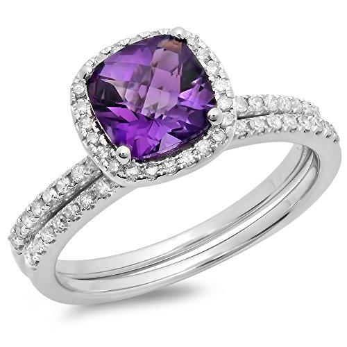 Dazzlingrock Collection 10K 7 MM Cushion Cut Amethyst & Round White Diamond Halo Wedding Ring Set, White Gold, Size 7