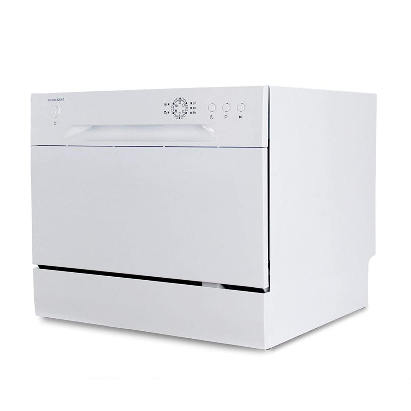 User Friendly Controls, Compact Countertop Mini Compact 6 Place Settings Countertop Dishwasher Stainless Steel, White