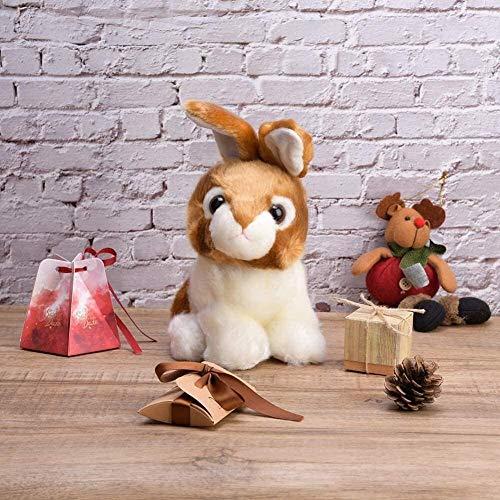 RENFEIYUAN Juguete de Peluche para niños bebé de Alta simulación Juguete Animal Suave para niños Decoración de Cama Conejo de Peluche (Color: Gris)-marrón
